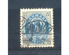 1875 - LOTTO/DAN23U - DANIMARCA - 4 ore GRIGIO AZZURRO - USATO