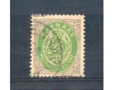 1875 - LOTTO/DAN27U - DANIMARCA - 25 ore GRIGIO E VERDE - USATO