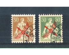 1919 - LOTTO/812UF - SVIZZERA - POSTA AEREA SOPRASTAMPATI 2v. - USATI