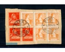 1924 - LOTTO/10592 - SVIZZERA - 12cent. GIALLO ARANCIO SU FRAMMENTO DI BUSTA