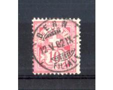 1882 - LOTTO/10606U - SVIZZERA - 10 CENT. ROSA CARTA BIANCA - USATO