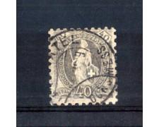 1888 - LOTTO/10608U - SVIZZERA - 40 CENT. GRIGIO DENTELLATURA 9,5 - USATO