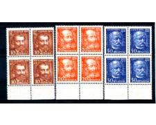 1932 - LOTTO/SVI261CPLQ - SVIZZERA - TRAFORO DEL GOTTARDO 3v. - QUARTINE NUOVE