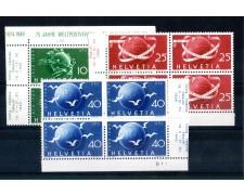 1949 - LOTTO/SVI476CPNQ - SVIZZERA - 75° ANNIVERSARIO U.P.U. 3v. - QUARTINE NUOVI