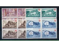 1949 - LOTTO/SVI480CPNQ - SVIZZERA - PRO PATRIA 4v. - QUARTINE NUOVE