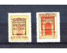 1924 - LOTTO/10640 - FIUME - 20 CENT. SOPRASTAMPATO ANNESSIONE ALL'ITALIA - VARIETA'