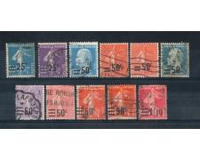 1926/27 - LOTTO/FRA228CPU - FRANCIA -  FRANCOBOLLI SOPRASTAMPATI 11v. - USATI