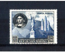 1952 - LOTTO/10648 - SAN MARINO - 200 LIRE POSTA AEREA CRISTOFORO COLOMBO - NUOVO