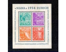 1934 - LOTTO/10588L - SVIZZERA - NABA ESPOS. FILATELICA - FOGLIETTO LING.