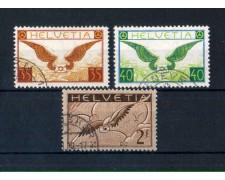 1929 - LBF/2835B  - SVIZZERA - POSTA AEREA 3v. USATI