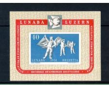 1951 - LOTTO/10627L - SVIZZERA - ESPOSIZIONE FILATELICA LUNABA - FOGLIETTO LING.