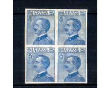 1908 - LOTTO/10661 - REGNO - 25 CENTESIMI AZZURRO  QUARTINA NON DENTELLATA