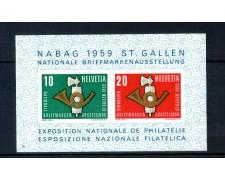 1959 - LOTTO/10624N - SVIZZERA - NABAG  ESPOSIZ. FILATELICA FOGLIETTO - NUOVO
