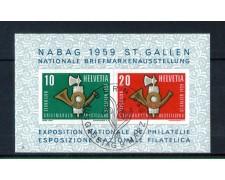 1959 - LOTTO/10624U - SVIZZERA - NABAG  ESPOSIZ. FILATELICA FOGLIETTO - USATO