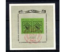 1943 - LOTTO/2727U  - SVIZZERA - ESPOSIZ. FILATELICA  FOGLIETTO - USATO