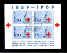 1963 - LOTTO/SVIBF19U - SVIZZERA - CENTENARIO CROCE ROSSA FOGLIETTO - USATO