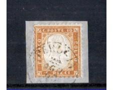 1862 - LOTTO/10671 - REGNO - 10 CENT. BISTRO EFFIGIE - SU FRAMMENTO DI BUSTA