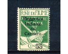 1920 - LOTTO/10687 - FIUME - 55 SU 5 CENT. VERDE REGGENZA DEL CARNARO - LING.