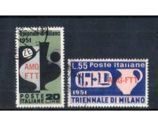 1951 - LOTTO/11035 - TRIESTE A - IX° TRIENNALE DI MILANO 2v. - USATI
