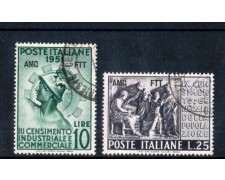 1951 - LOTTO/11038 - TRIESTE A - CENSIMENTO 2v. - USATI