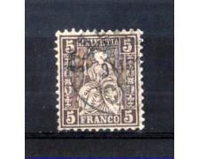 1881 - LOTTO/11363 - SVIZZERA - 5 CENT.BRUNO LILLA - USATO