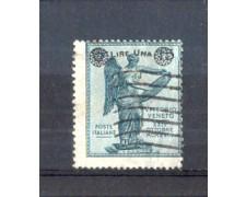 1924 - LOTTO/11383 - REGNO - 1 Lira su 15 c. VITTORIA SOPRASTAMPATO - USATO