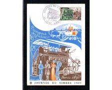 1969 - LOTTO/11110 - FRANCIA - GIORNATA FRANCOBOLLO - CARTOLINA MAXIMUM