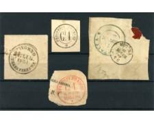 ANNULLI - 1851/59 - LOTTO/11481 -  INSIEME DI 4 ANNULLI SU FRAMMENTO