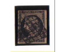 1849 - LBF/2253  - FRANCIA - 20c. NERO SU GIALLO - USATO
