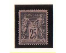 1884 - LBF/2284 -  FRANCIA - 25c. NERO SU ROSA
