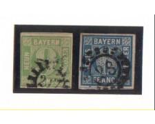 BAVIERA - 1849/1861 - LBF/2361 - 6k. azzurro e 9k. verde - usati