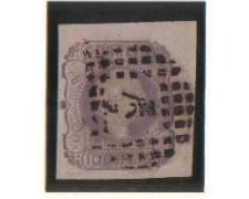 1855 - LOTTO/9607U - PORTOGALLO - 100r. LILLA - USATO SU FRAMMEN