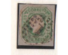 1855 - LOTTO/9606U  - PORTOGALLO - 50r. VERDE - USATO SU FRAMMEN