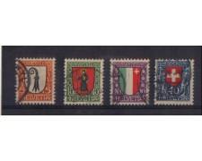 1923 - LOTTO/3407A  - SVIZZERA - PRO JUVENTUTE 4v. - USATI