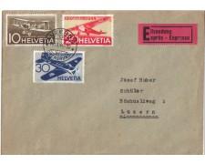 1944 - LBF/2851 -  SVIZZERA - POSTA AEREA 3v. - BUSTA VIAGGIATA
