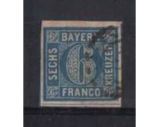 BAVIERA -1861 - LOTTO/3838 - 6 Kr. AZZURRO