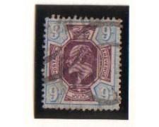 1902 - LOTTO/1842 -  GRAN BRETAGNA - 9p. AZZURRO VIOLA - USATO