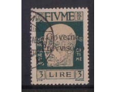 1921 - LOTTO/OCP2193  - FIUME - 3 LIRE G. PROVVISORIO - USATO