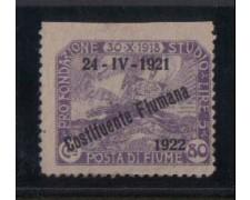 1922 - LOTTO/2196  -FIUME - 80c. COSTITUENTE FIUMANA VARIETA'