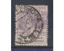 1924 - LOTTO/REGSS28UA - REGNO - 50c. CASSA ASS. SOCIALI - USATO