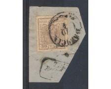 LOMBARDO VENETO - 1850 - LOTTO/3349 - 30c. BRUNO CHIARO - BRESCI