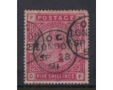 1883/1884 - LOTTO/3429 - GRAN BRETAGNA - 5 STERLINE CARMINIO