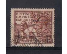 1924 - LOTTO/3559 - GRAN BRETAGNA - EXPO WEMBLEY 1924 - USATO