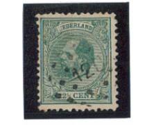 1872 - LOTTO/3584GU - OLANDA - 22,5c.VERDE - USATO