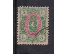 1885 - LOTTO/3656 - FINLANDIA - 5 M. VERDE ROSA