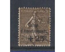 1930 - LOTTO/4112 - FRANCIA - 25 SU 50c. CASSA D'AMMORTAMENTO - USATO