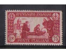 1931 - LOTTO/REG296NA - REGNO - 75c. S.ANTONIO - NUOVO