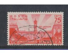 1936 - LOTTO/REG402U - REGNO - 75c. BIMILLENARIO ORAZIO - USATO