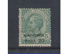 LEVANTE  SMIRNE - 1922 - LOTTO/4354 - 20 PARA SU 5c. VERDE