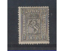 1867/68 - LOTT0/NORV11U - NORVEGIA - 1 Sk. GRIGIO NERO - USATO